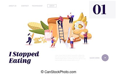 Carbohydrate Nutrition Website Landing Page. Tiny Characters...