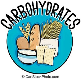 Carbohydrates Icon - Icon Illustration Featuring Different...