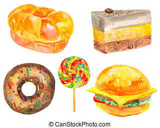 Carbohydrates - Watercolor set of isolated bread and sweets