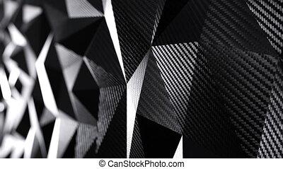 Carbon black triangular polygonal background seamless motion loop. 3D animation