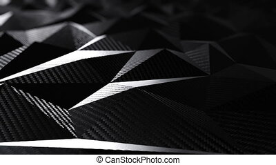 Carbon black triangular polygonal geometric background seamless motion loop. 3D animation