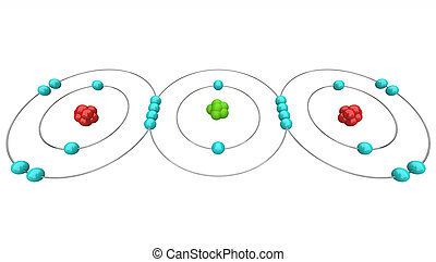 Carbon Dioxide CO2 - Atomic Diagram - An atomic diagram of...