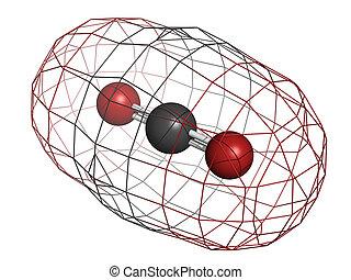 Carbon dioxide (CO2) , molecular model - Carbon dioxide...