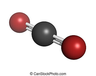 Carbon dioxide (CO2) , molecular model - Carbon dioxide...