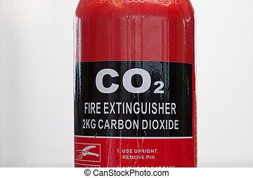 Carbon dioxide fire extinguisher close up