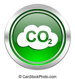 carbon dioxide icon, green button, co2 sign