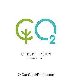 Carbon dioxide logo - green tree and oxygen symbol....