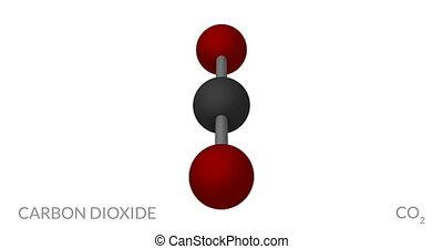 Carbon dioxide molecule, rotating seamless loop, 3d animation, 4k 30fps