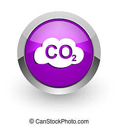 carbon dioxide pink glossy web icon