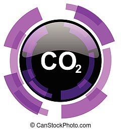 Carbon dioxide pink violet modern design vector web and smartphone icon. Round button in eps 10 isolated on white background.