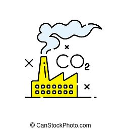 Carbon dioxide pollution icon. Co2 emissions symbol. Global...