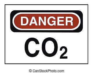 Carbon Dioxide Warning - Sign with CO2 Danger warning
