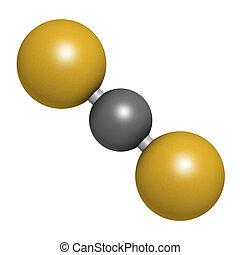 Carbon disulfide (CS2) molecule. Liquid used for fumigation...