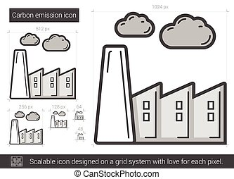 Carbon emission line icon.