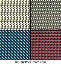 Carbon fiber, kevlar and decorative seamless patterns set -...
