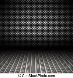 A realistic carbon fiber textured backdrop with 3D perspective and a corrugated metal floor.