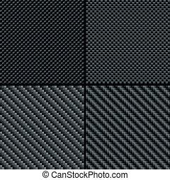 Carbon fiber seamless patterns set - Set of four carbon...