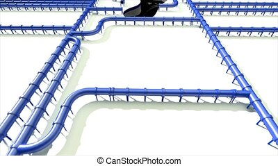 Carbon footprint oil blue pipeline pipe line foot print oil climate change 4k