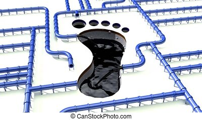 Carbon footprint oil blue pipeline pipe line foot print oil climate change