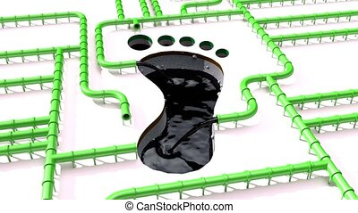 Carbon footprint oil green pipeline pipe line foot print oil...