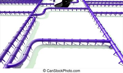 Carbon footprint oil purple pipeline pipe line foot print...