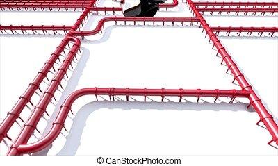 Carbon footprint oil red pipeline pipe line foot print oil...