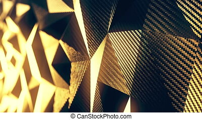 Carbon gold triangular polygonal background seamless motion loop. 3D animation