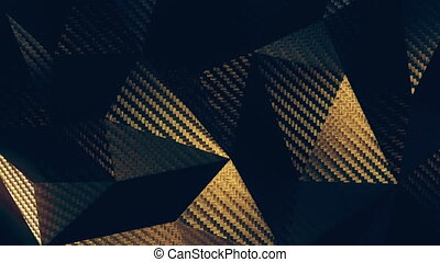 Carbon gold triangular polygonal close-up background seamless motion loop. 3D animation