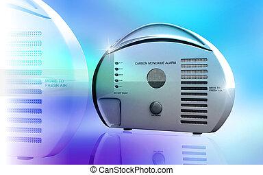 Carbon monoxide alarm - Digital illustration of Carbon...