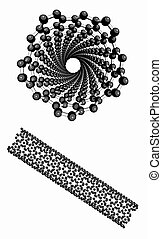 Carbon nanotube, molecular model.