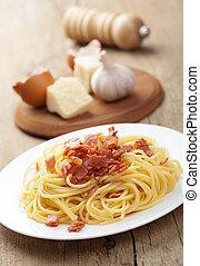 carbonara, Espaguetis