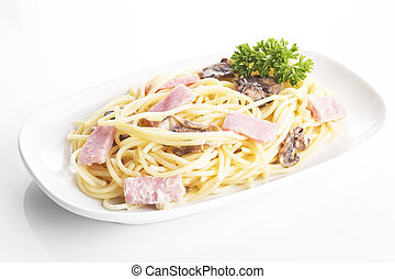 Carbonara spaghetti in plate on background