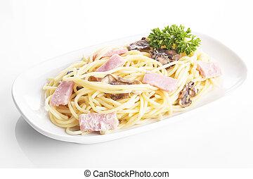 Carbonara spaghetti in plate