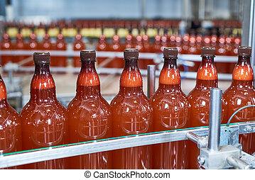 carbonated, bottiglie, trasportatore, plastica, birra, bevanda, spostamento, o