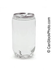 Carbonated drink in plastic can with metal top on white...