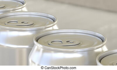 Carbonated soft drink or beer production line. Aluminum cans...