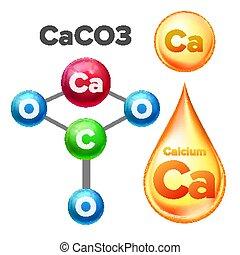 carbonato, caco3, calcio, vector, estructura molecular