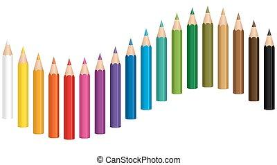 carboncillos, lápiz de color, onda
