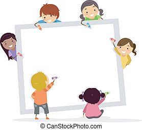 carboncillos, niños, stickman, cuadrado, tabla, blanco
