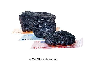 carbone, charbon, pépites, billet banque