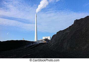 carbone, e, centrale elettrica
