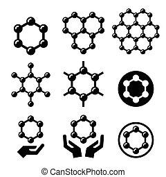 Carbone graphene structure icons - Graphene nanomaterial...