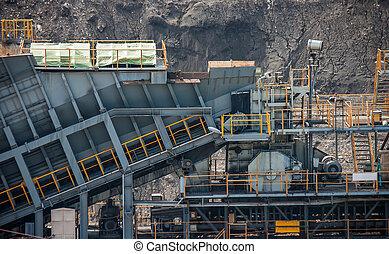 carbone, linea, elaborazione, trasporto