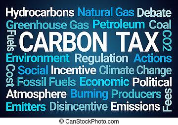 carbone, mot, impôt, nuage