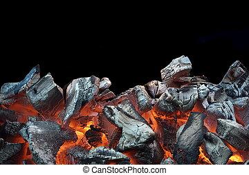carbonella, fiammeggiante, nero, isolato, fondo