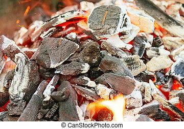 carbonella, intorno, urente, selettivo, pezzi, fuoco, parti, fiamma, orange-colored, splendore