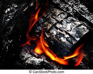carboni, caldo, falò