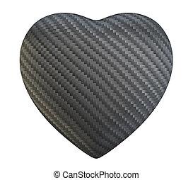 carbonio, fibra, forma cuore, isolato