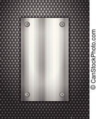 carbonio, fondo, e, piastra metallo