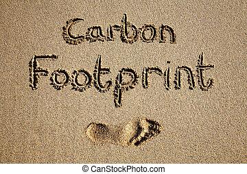 carbonio, orma, scritto, in, sabbia, su, uno, spiaggia.